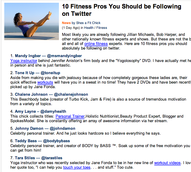 Top Fitness Pros on Twitter