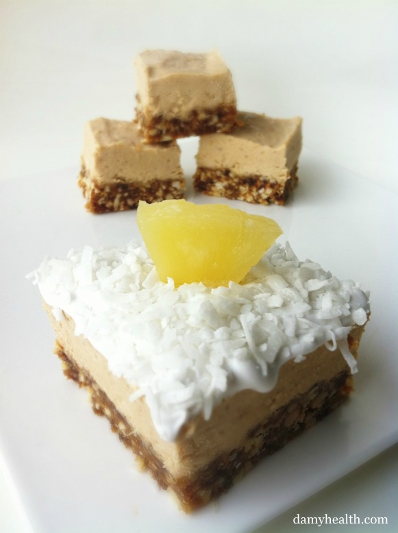 Vegan pina colada squares