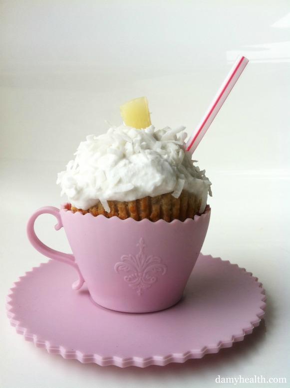 Skinny Almond Flour Pina Colada Cupcakes