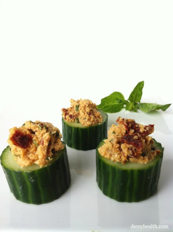 Vegan stuffed cucumbers