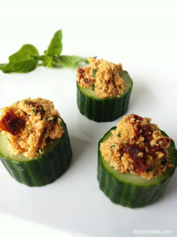 vegan stuffed cucumber appetizers
