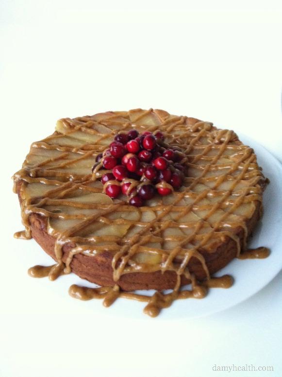 Grain Free Clean Eating Caramel Apple Upsidedown Cake