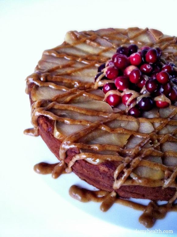 Healthy Caramel Apple Upsidedown Cake