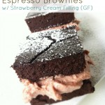 Dark Chocolate Espresso Brownies with Strawberry Cream Filling (Gluten-Free, Grain-free & Dairy-Free)