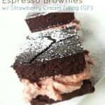 Dark Chocolate Espresso Brownies with Strawberry Cream Filling (Gluten-Free, Grain-free & Dairy-Free)