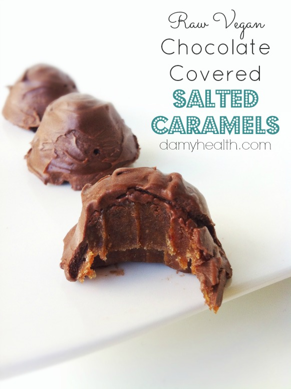 Raw Vegan Chocolate Covered Salted Caramels1