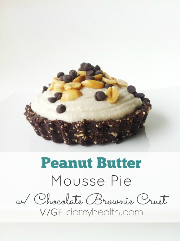 Peanut Butter Raw Vegan Mousse Pie with Chocolate Brownie Crust1