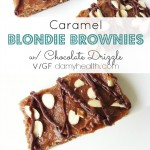 Caramel Blondie Brownies w/ Chocolate Drizzle (Raw/Vegan)