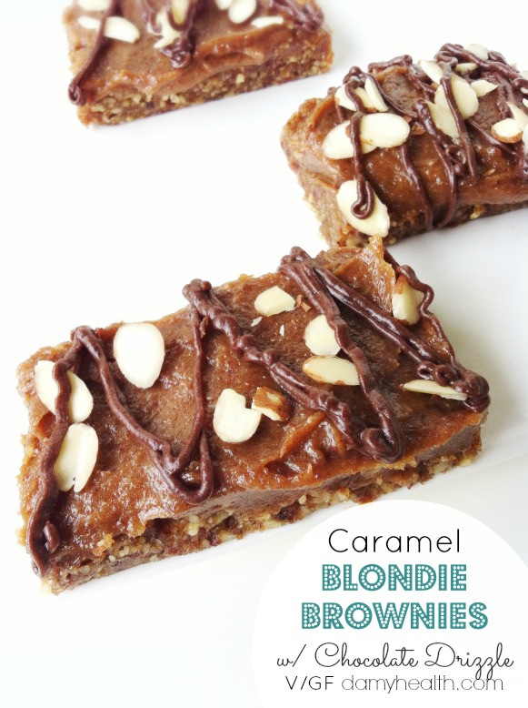 raw vegan caramel blondie brownies1