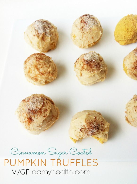 vegan cinnamon sugar coated Pumpkin Cheesecake truffles1