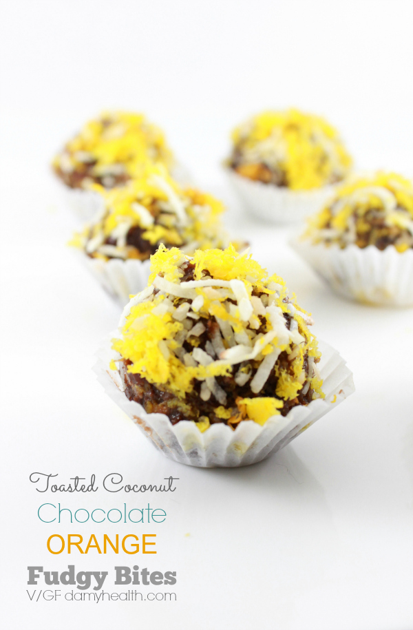 easy and healthy toasted coconut & orange chocolate fudgy bites1
