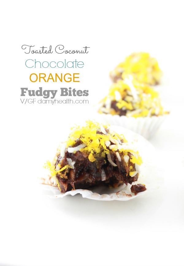toasted coconut & orange chocolate fudgy bites1