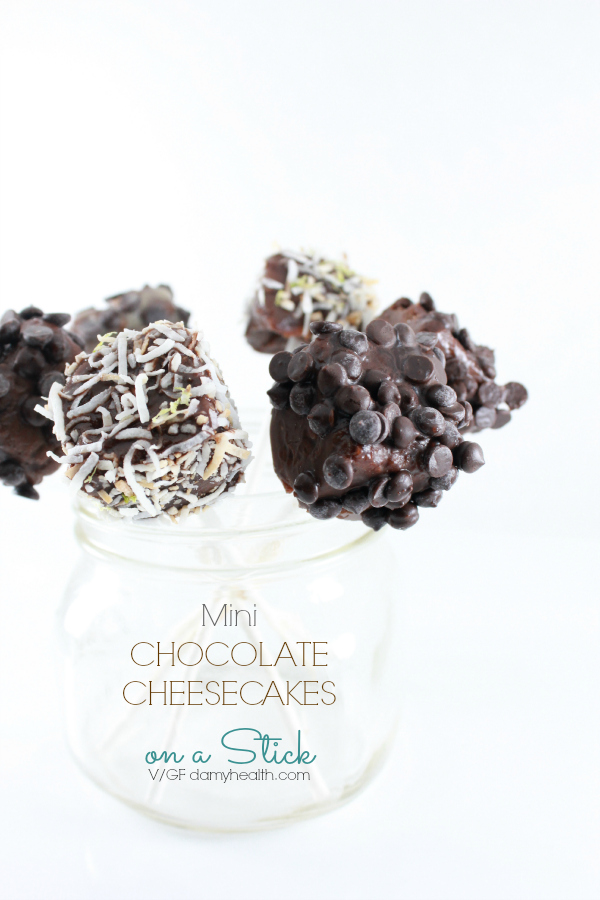 Mini Chocolate Cheesecakes on a Stick (Vegan)