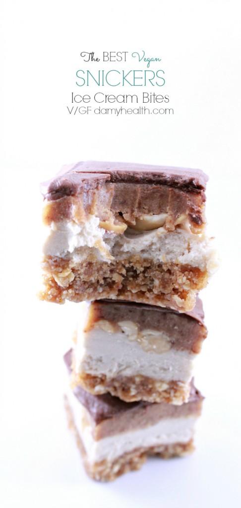 The Best Vegan Snickers Ice Cream Bites