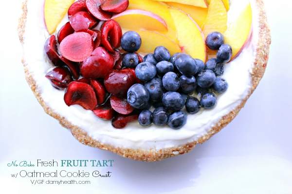 No Bake Fresh Fruit Tart with Oatmeal Cookie Crust