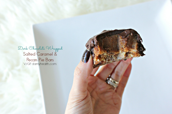 Dark Chocolate wrapped Salted Caramel Pecan Pie bites