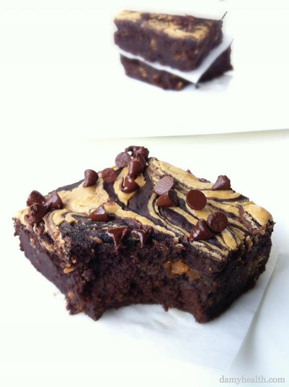 blackbean Peanut Butter Swirl Brownies