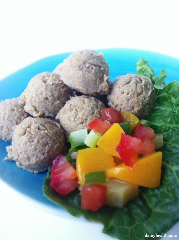 Raw Falafels with Mango Chutney
