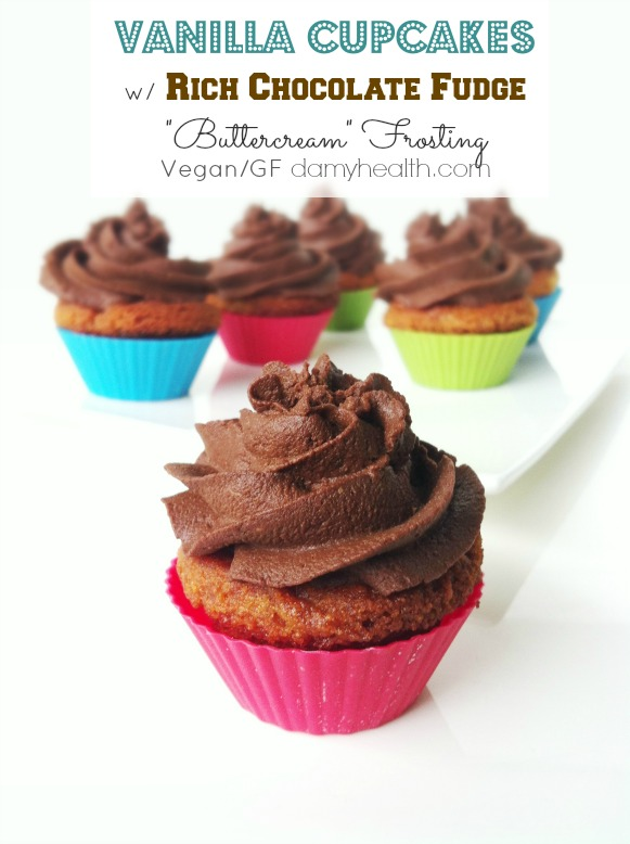 "Vegan Vanilla Cupcakes w/ Rich Chocolate Fudge ""Buttercream"" Frosting"