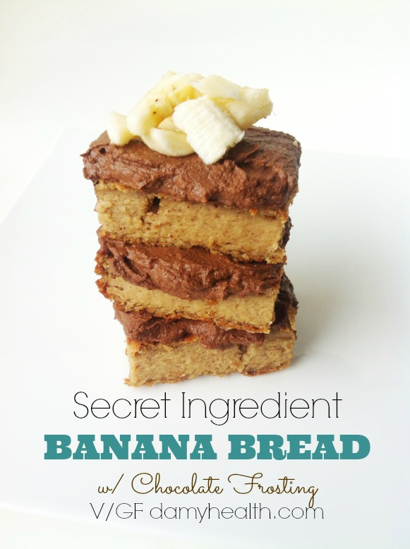Secret Ingredient BANANA BREAD with Chocolate Frosting