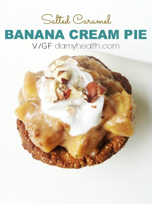 Healthy Salted Caramel banana Cream pie1
