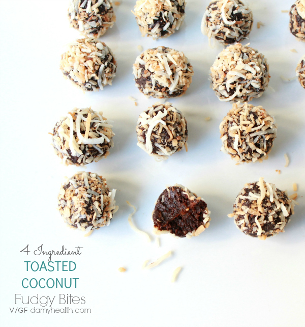 4 Ingredient TOASTED COCONUT Fudgy Bites
