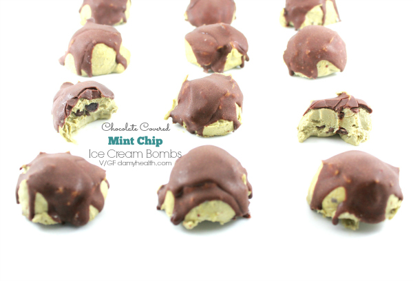 Chocolate Covered Mint Chip Ice Cream Bombs