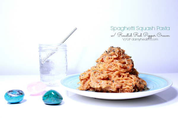 Spaghetti Squash Pasta with Roasted Red Pepper Cream
