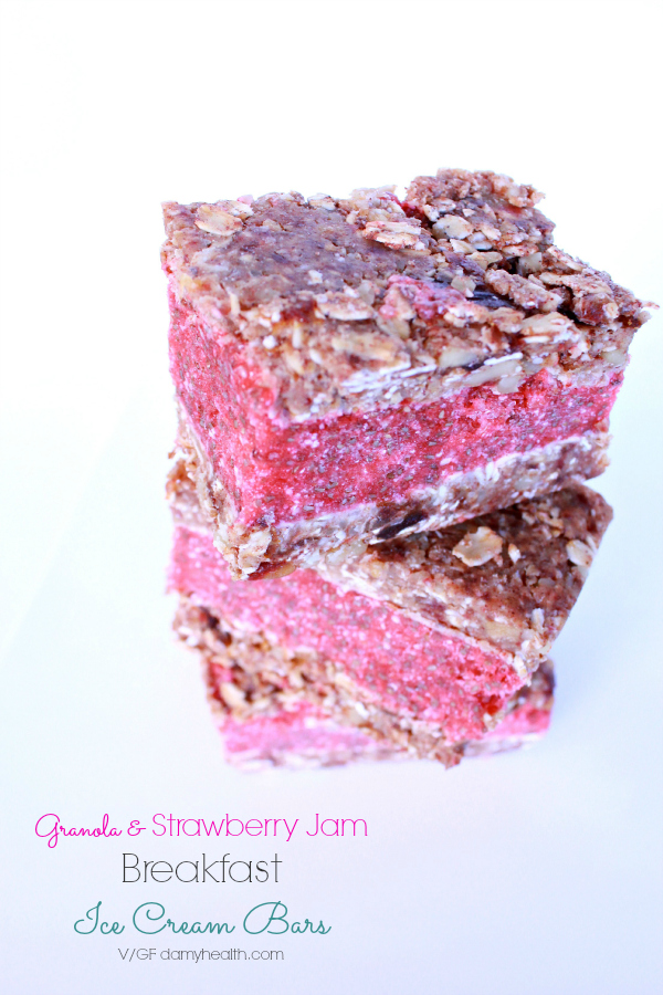 Granola & Strawberry Jam Ice Cream Breakfast Bars