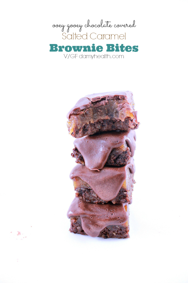chocolate covered salted caramel brownie bites