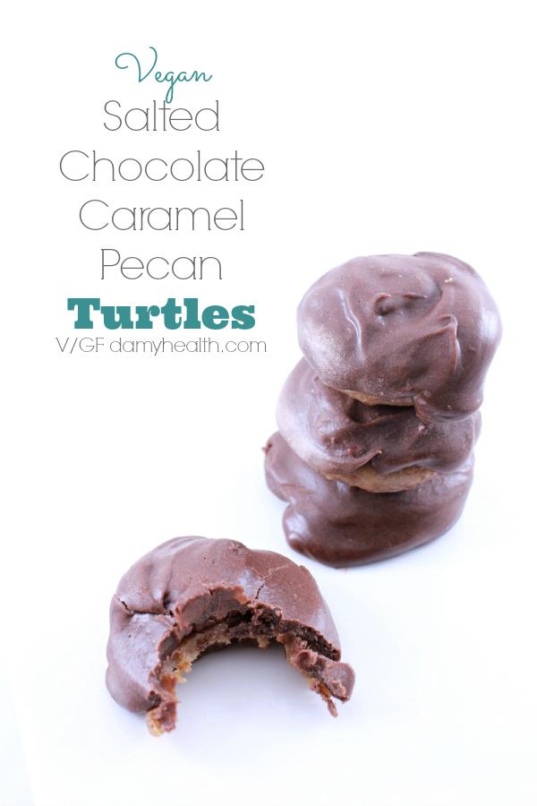 Vegan Salted Chocolate Caramel Pecan Turtles