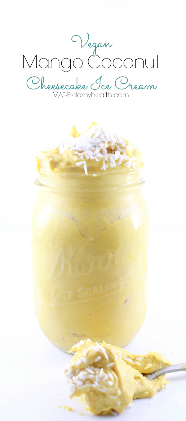 Vegan Mango Coconut Cheesecake Ice Cream