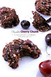 Chocolate Cherry Chunk Coconut Cookies
