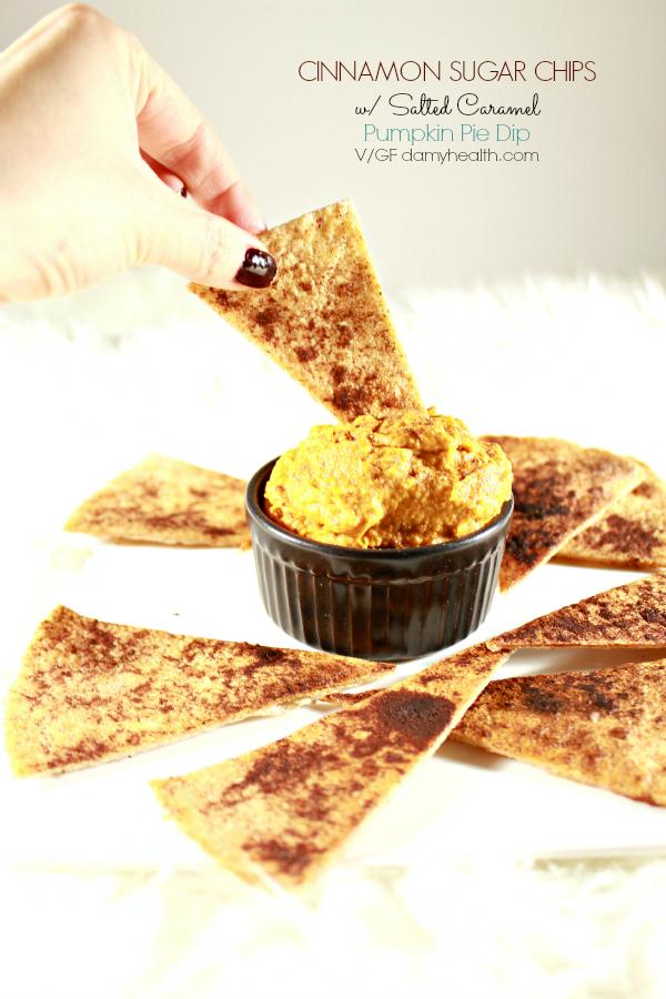 vegan pumpkin pie dip with cinnamon sugar chips