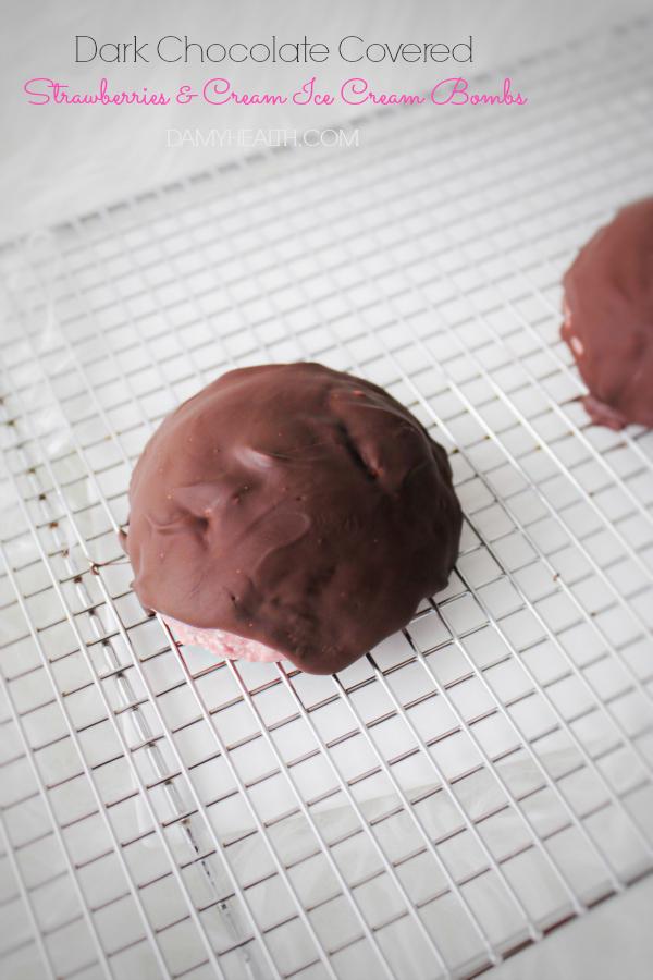 Dark Chocolate Covered Strawberries & Cream Ice Cream Bombs4