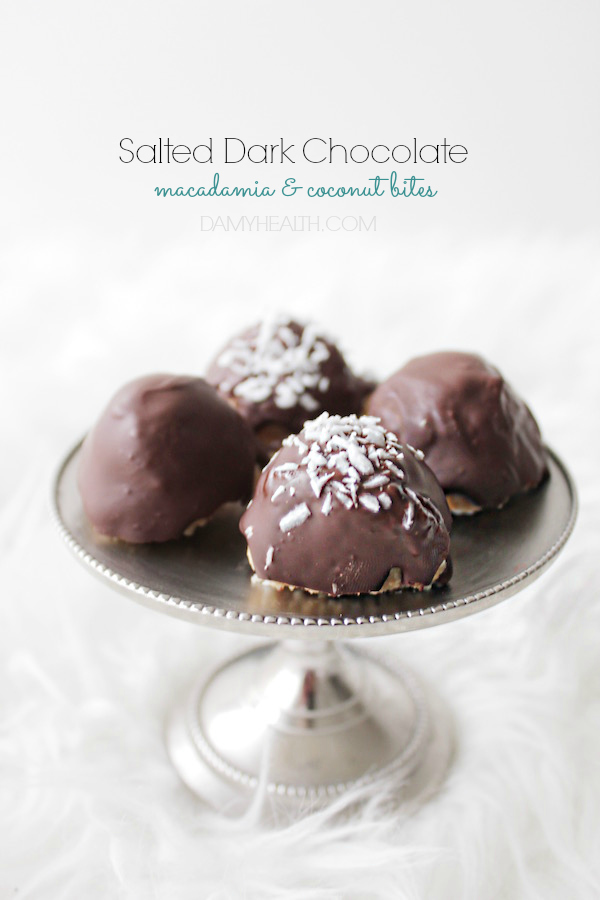 Salted Dark Chocolate Macadamia & Coconut Bites
