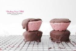 Strawberry Cream Filled Dark Chocolates Raw