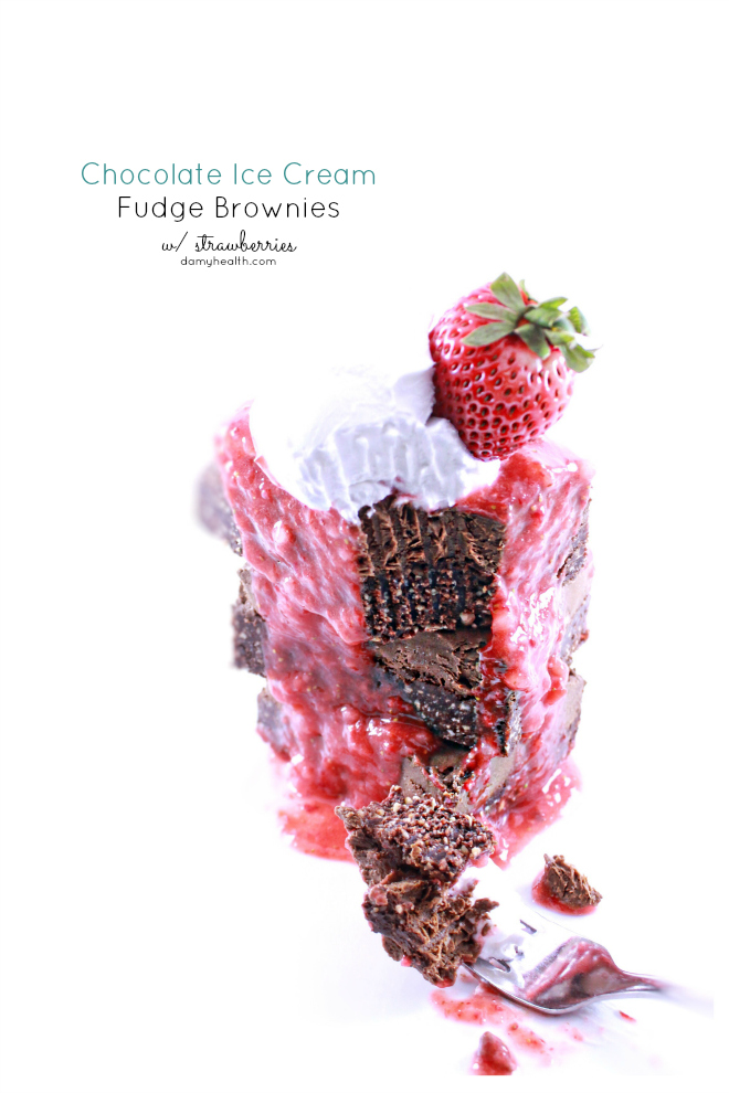 Chocolate Ice Cream Fudge Brownies with Strawberries